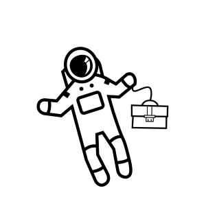 Astronaut floating with briefcase