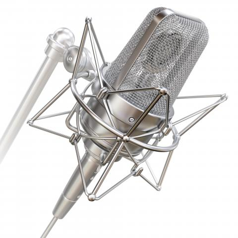 silver professional voice over microphone