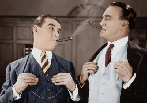 Two Snobby Men with Cigars Too Cool for Online Voice Over Casting Sites