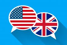 American and British flags in voice over speech bubbles overlap for Transatlantic Accent