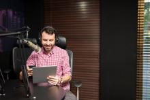 professional voice actor in studio